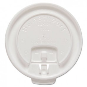SOLO Cup Company DLX10RPK Liftback & Lock Tab Cup Lids for Foam Cups, Fits 10 oz Trophy Cups, WE, 100/PK