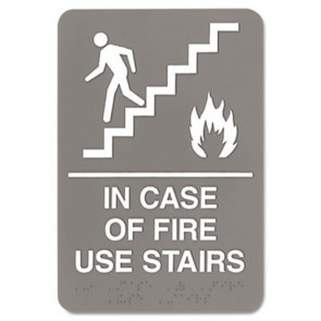 Headline Sign 5400 ADA Sign, 6 x 9, In Case of Fire Use Stairs, Gray
