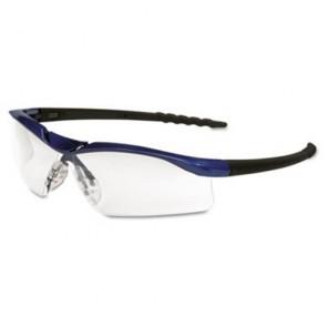 MCR Safety DL310AF Dallas Wraparound Safety Glasses, Metallic Blue Frame, Clear AntiFog Lens