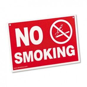 Advantus 83639 Economy No Smoking Wall Sign, Plastic, 12 x 8, Red
