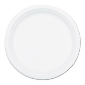NatureHouse P005 Compostable Sugarcane Bagasse 10 in Plate Round, White, 50/Pack