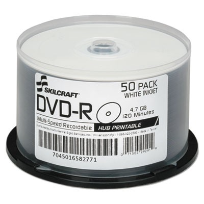 photograph regarding Dvd R Printable known as AbilityOne 6582771 7045016582771 SKILCRAFT Inkjet Printable DVD-R, 50/Pack