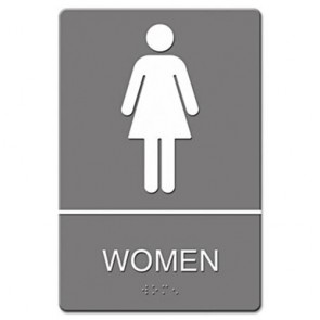 Headline Sign 4816 ADA Sign, Women Restroom Symbol w/Tactile Graphic, Molded Plastic, 6 x 9, Gray