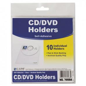 C-Line 70568 Self-Adhesive CD Holder, 5 1/3 x 5 2/3, 10/PK